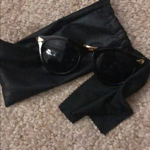 Accessories - Women's black round sunglasses gold trim